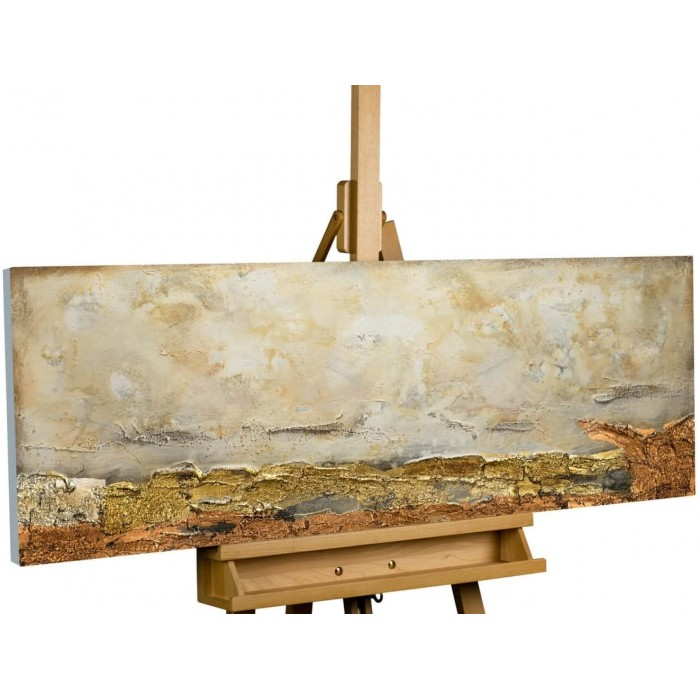 "TABLOU PICTAT MANUAL - ""ABSTRACT GOLD""- ACRYLIC 120X40CM"