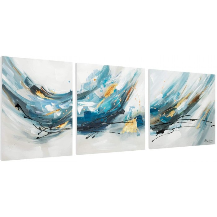 "TRIPTIC PICTAT MANUAL - ""WATER BLUES""- ACRYLIC 150X50CM"
