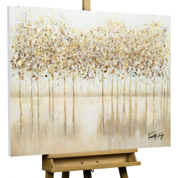 "TABLOU PICTAT MANUAL - ""GOLDEN TREES""- ACRYLIC 100X75CM"