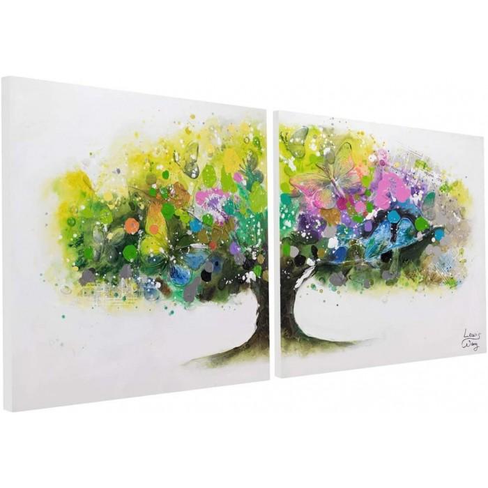 "TABLOU PICTAT MANUAL ""RAINBOW TREE""- ACRYLIC 160X80CM"