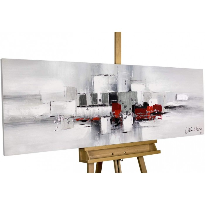 """TABLOU PICTAT MANUAL """"ABSTRACT RED""""- ACRYLIC 150X50CM"""