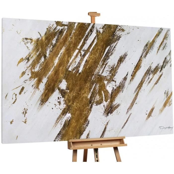 "TABLOU PICTAT MANUAL ""ABSTRACT GOLD""- ACRYLIC 180X120CM"