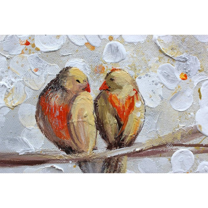 "TABLOU PICTAT MANUAL "" BIRDS"" - 120X60CM"